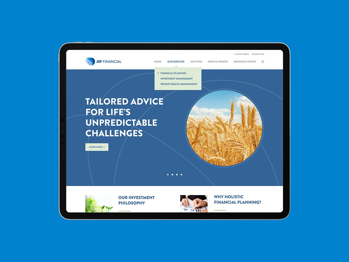 Jsf financial homepage after