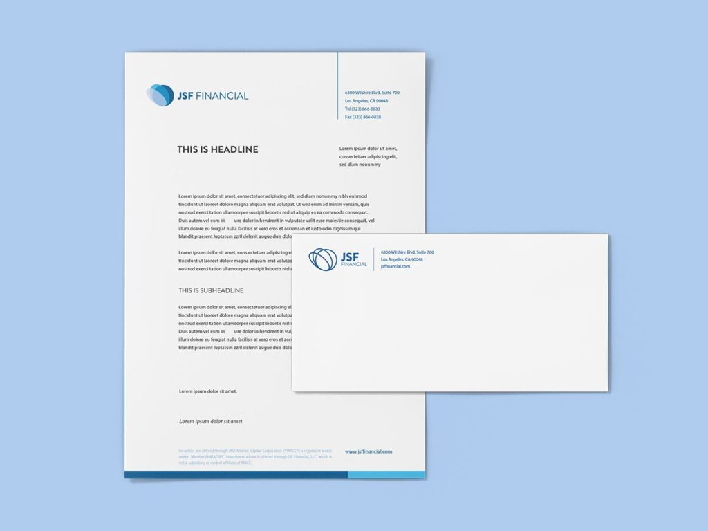 Jsf financial letterhead envelope