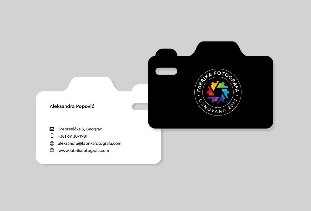 Fabrika fotografa custom die-cut business cards