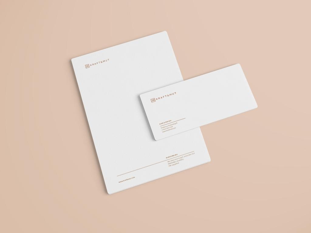 Kraftmut letterhead and envelope