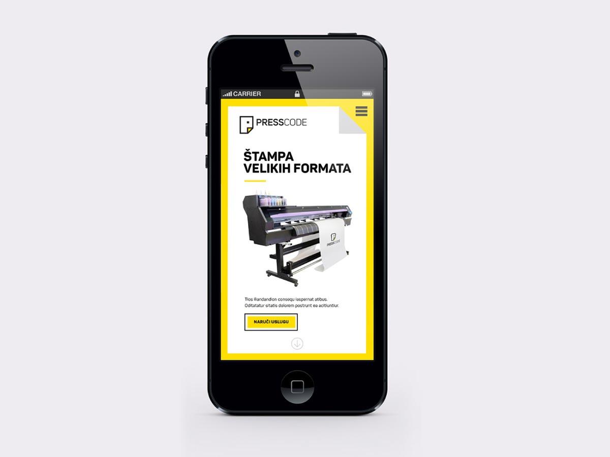 Presscode website mobile