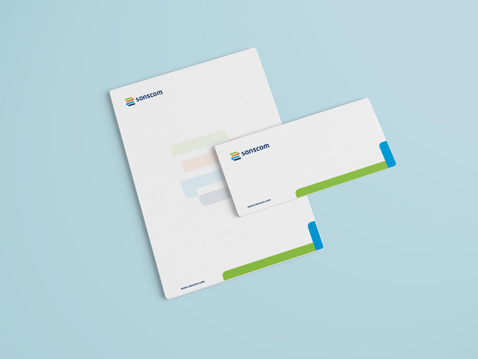 Sanscom letterhead and envelope